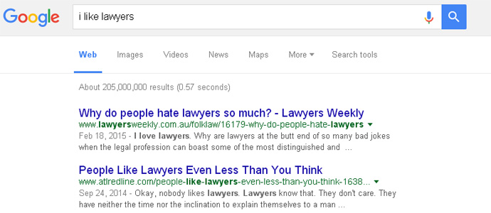 Google don't like lawyers